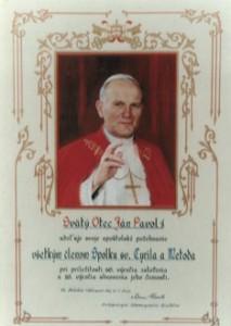 Požehnanie pre členov Spolku od pápeža Jána Pavla II. (2001)